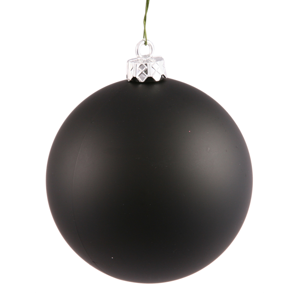 2.75 Inch Black Matte Finish Round Christmas Ball Ornament Shatterproof UV