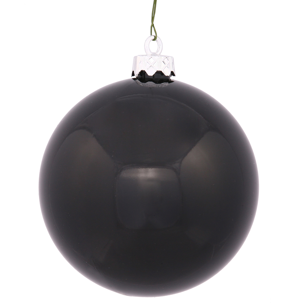 2.75 Inch Black Shiny Finish Round Christmas Ball Ornament Shatterproof UV