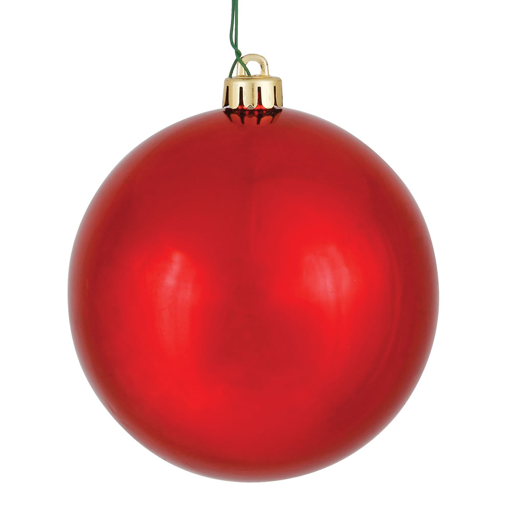 3 Inch Red Shiny Round Christmas Ball Ornament Shatterproof UV