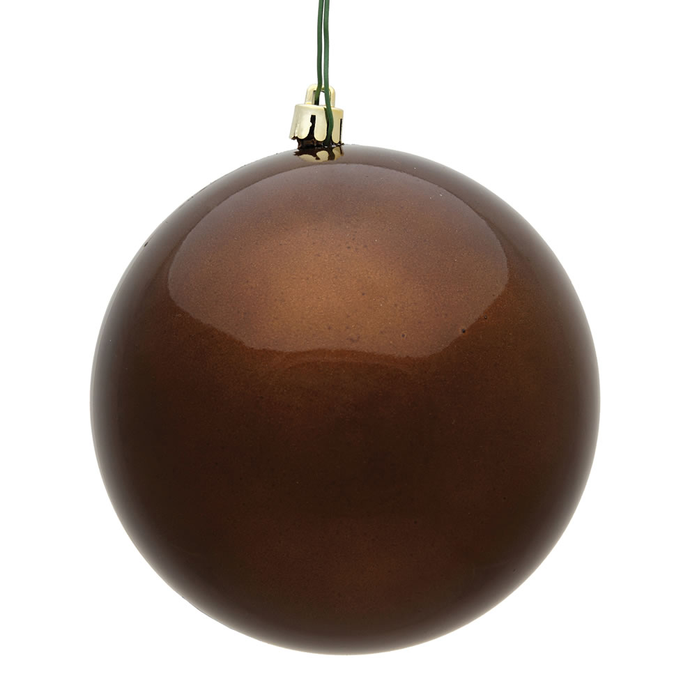 6 Inch Mocha Candy Round Christmas Ball Ornament Shatterproof UV