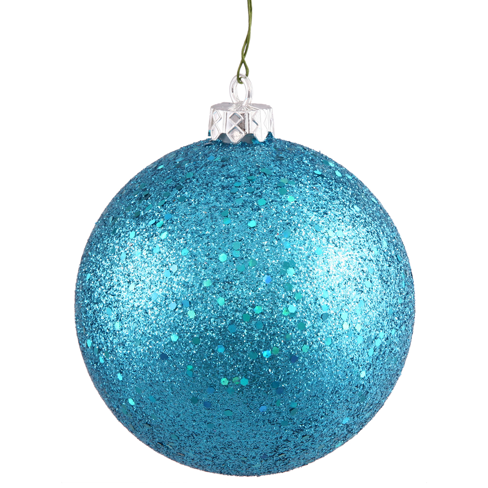 8 Inch Turquoise Sequin Round Christmas Ball Ornament Shatterproof