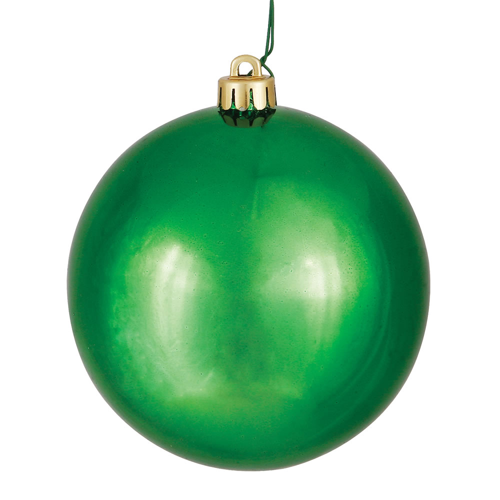 10 Inch Green Shiny Round Christmas Ball Ornament Shatterproof UV