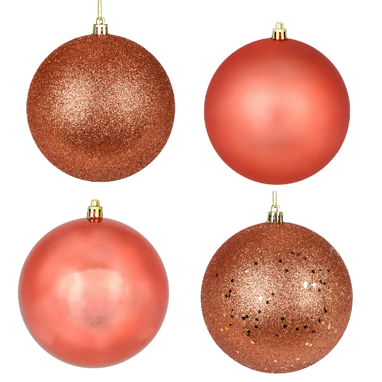 10 Inch Coral Finish Christmas Ball Ornament