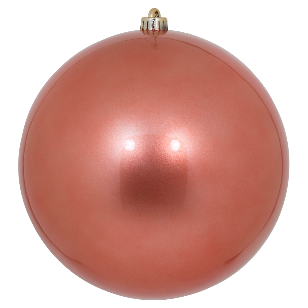 10 Inch Coral Candy Christmas Ball Ornament -  UV Drilled Cap