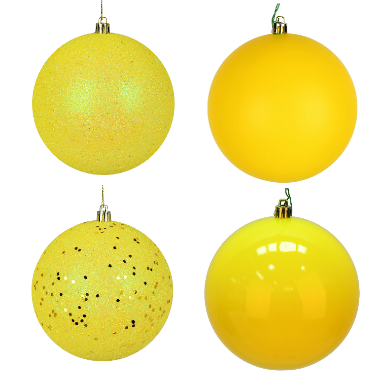 10 Inch Yellow 4-Finish Christmas Ball Ornament