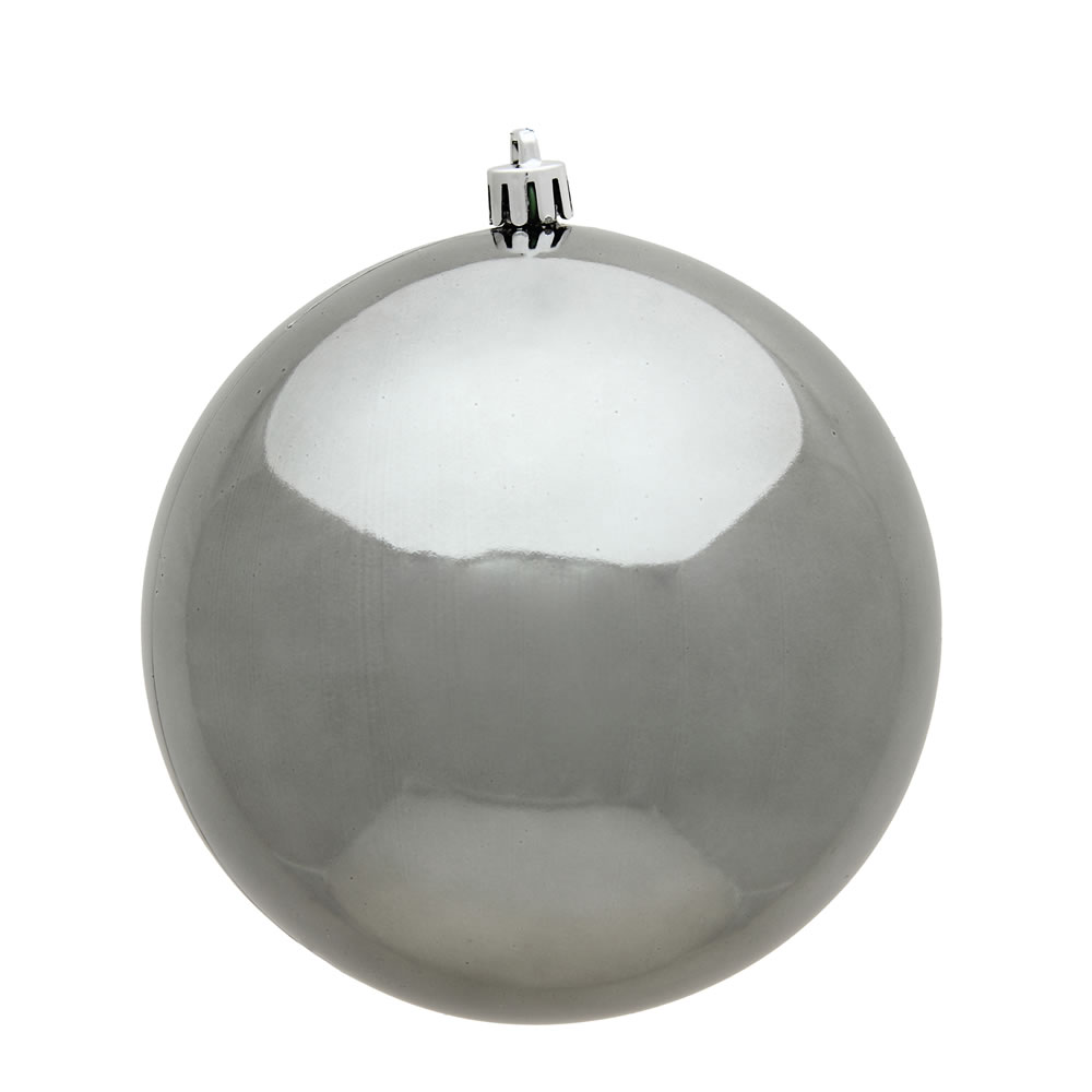 15.75 Inch Pewter Shiny Round Christmas Ball Ornament Shatterproof UV