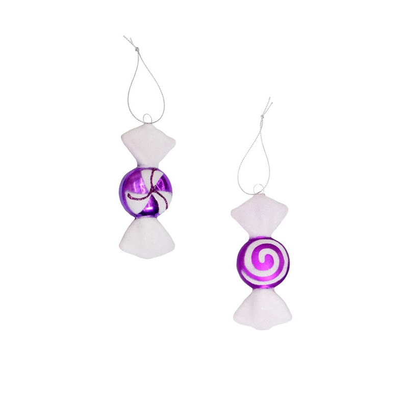 4 Inch Purple and White Candy Ornament Set