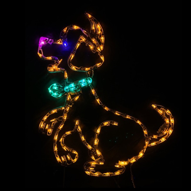 Puppy Dog with Bow Outdoor LED Lighted Christmas Decoration