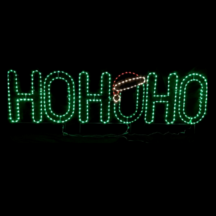 HO HO HO with Santa Hat Christmas Lighted Outdoor Decoration