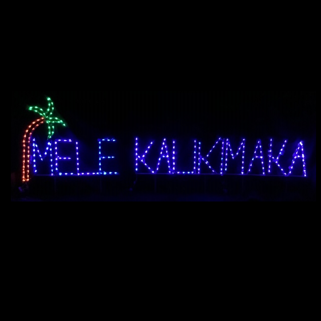 Mele Kalikimaka With Palm Tree Lighted Outdoor Christmas Decoration