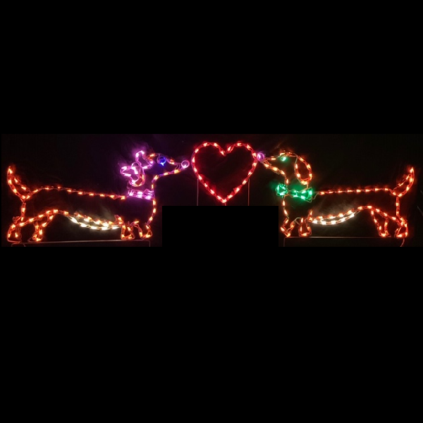 Mr And Mrs Doxie Dachshund Dogs with Heart LED Lighted Outdoor Lawn Decoration