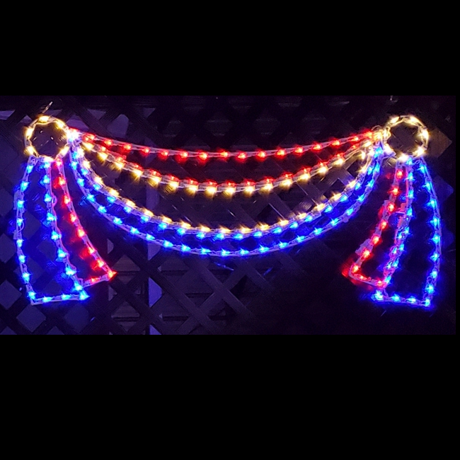 Patriotic Red White And Blue Bunting LED Lighted Outdoor Hanging Decoration