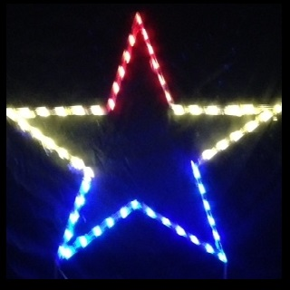 Patriotic Red White and Blue Star Lighted Outdoor Yard Decoration