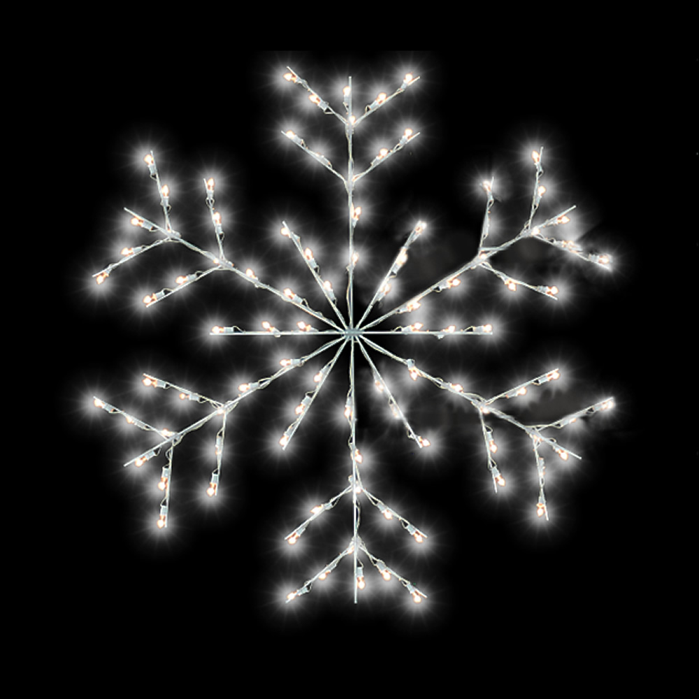Fancy Forked Snowflake Commercial Pole Decoration 48 LED C7 Lights