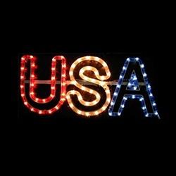Patriotic USA Rope Light Window Wall Decoration