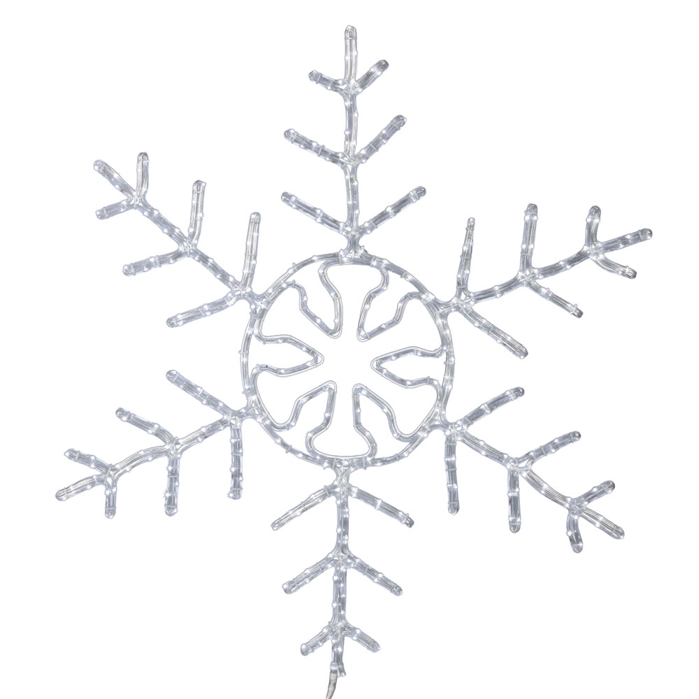 72 Inch LED Ropelight Pure White Forked Snowflake Lighted Christmas Decoration