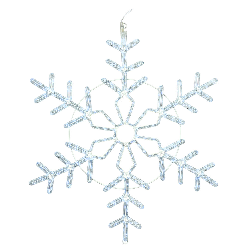 36 Inch LED Ropelight Twinkle Pure White Forked Snowflake Lighted Christmas Decoration