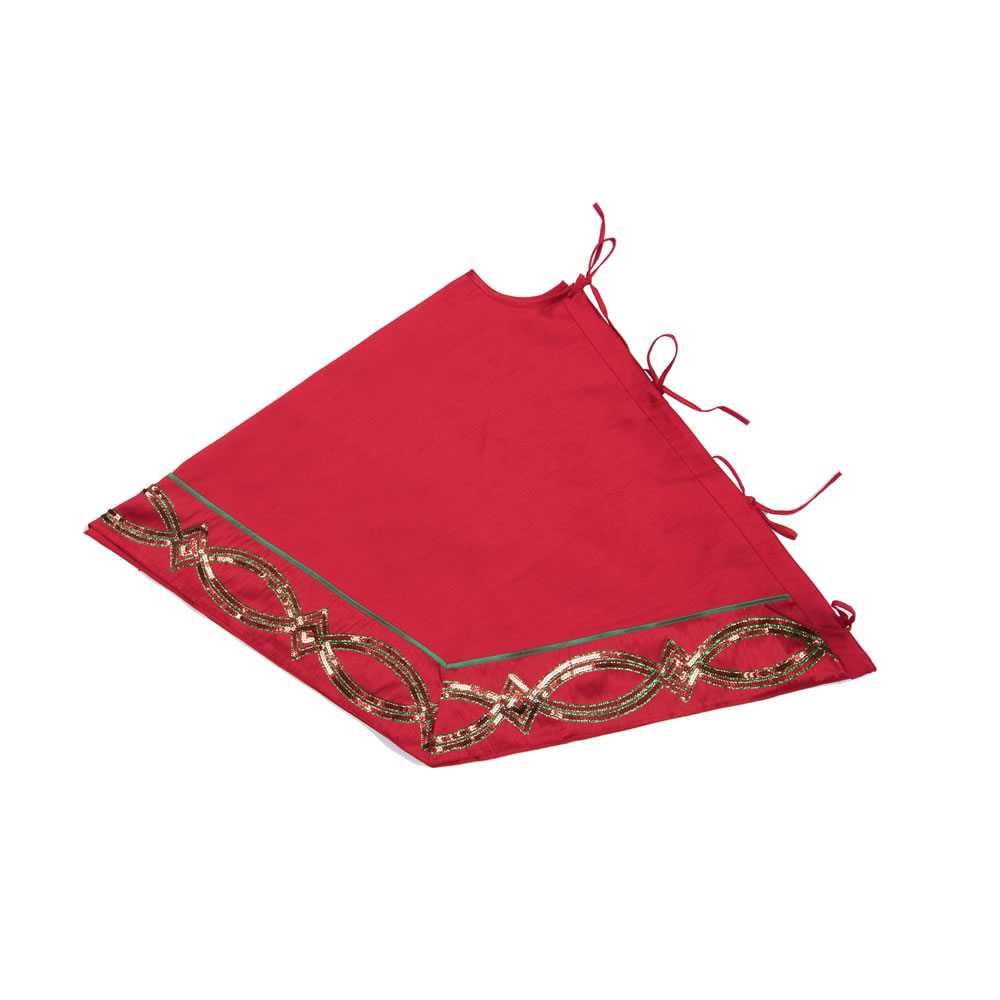 Red Sequin Decorative Christmas Swirl Table Runner