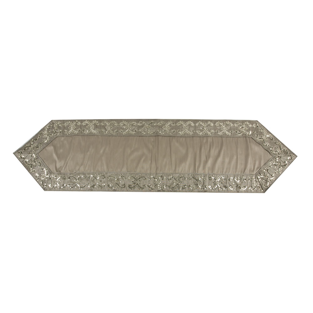 Taupe Snowflake Sequin Decorative Christmas Table Runner