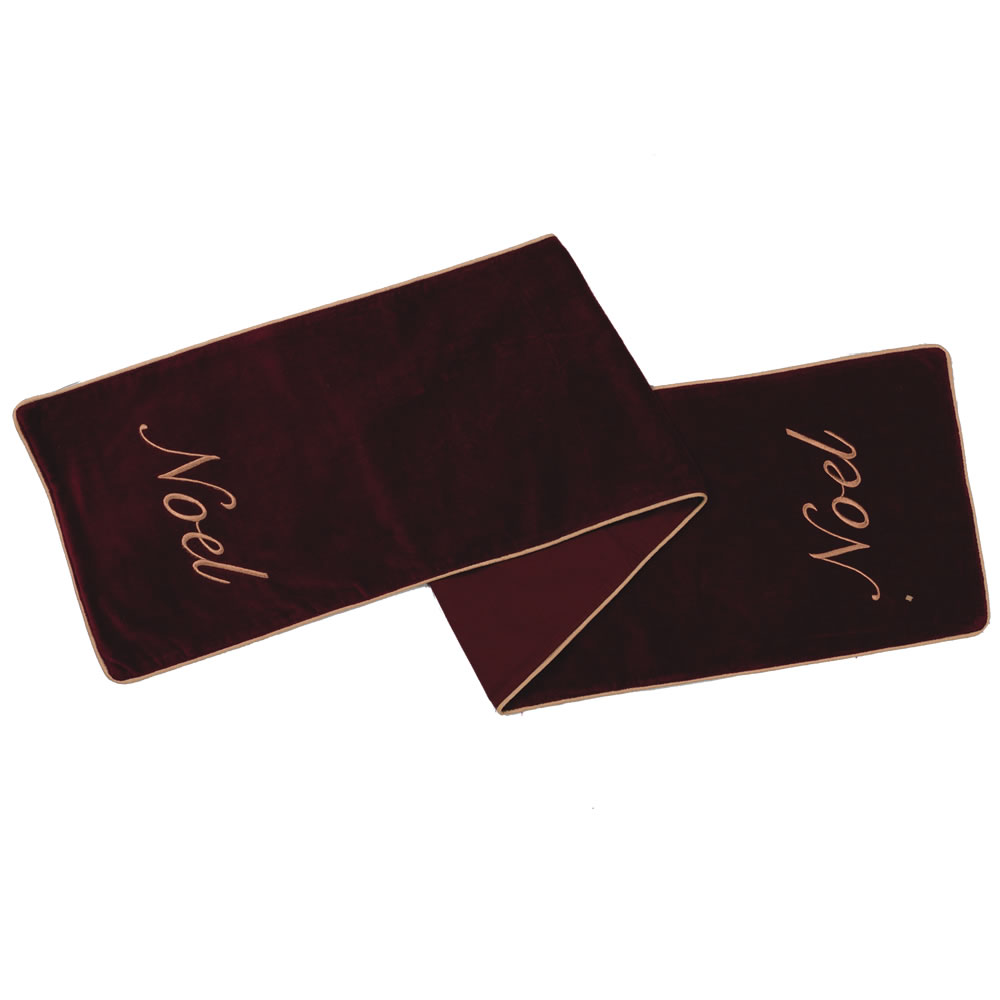 Burgundy Cotton Velvet Embroidered Motif and Gold Twist Cord Noel Decorative Christmas Table Runner