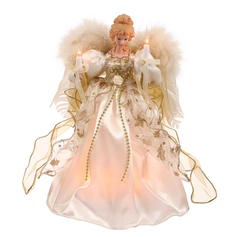 12 Inch Angel White Gold with Feather Wings Lighted Christmas Tree Topper