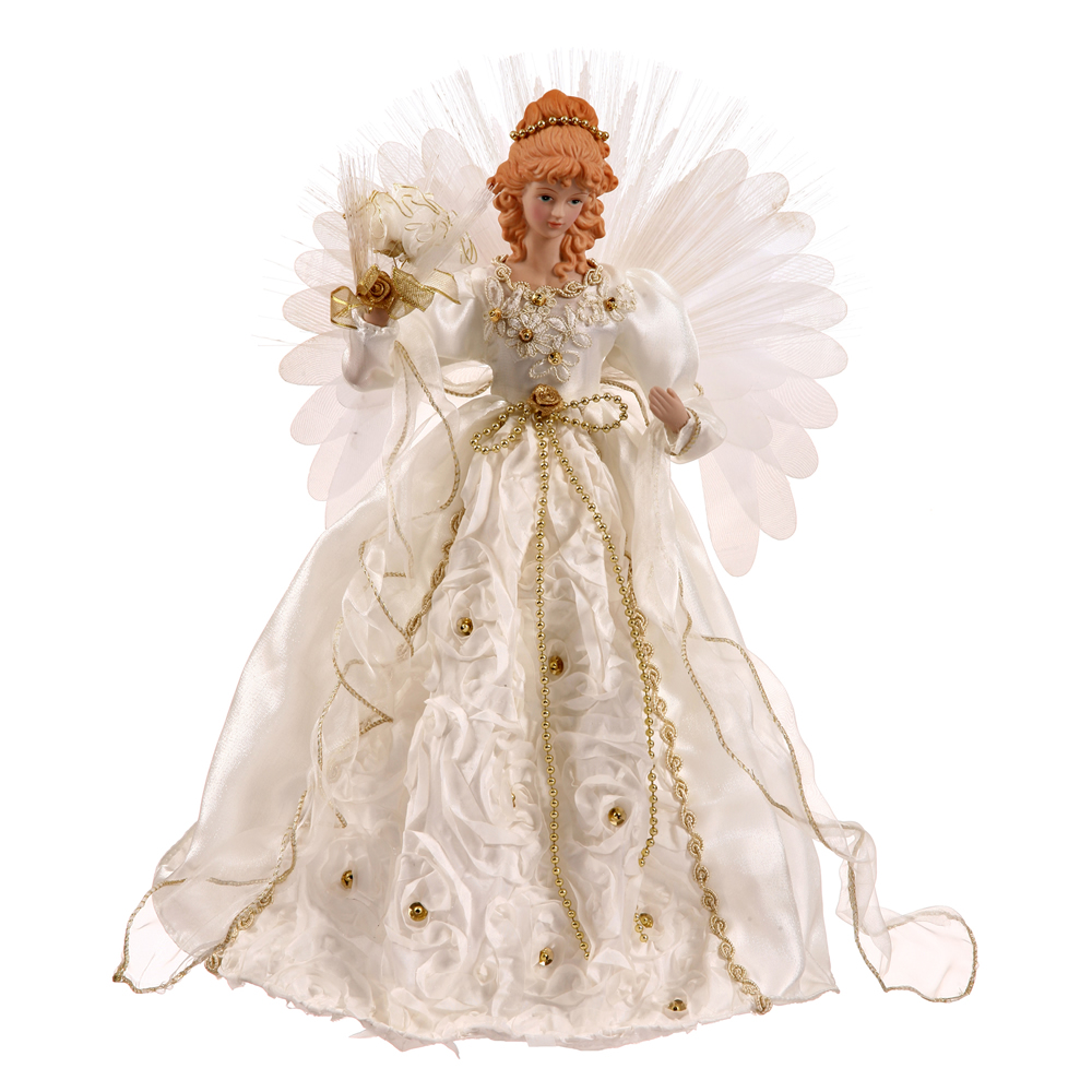 18 Inch Angel White Gold Fiber Optic Lighted Christmas Tree Topper