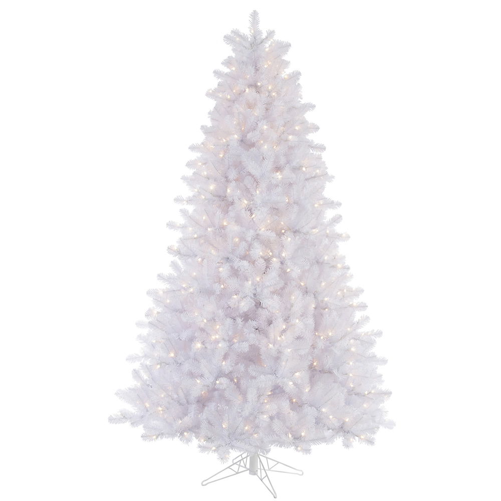 12 Foot Crystal White Pine Artificial Christmas Tree 1850 DuraLit Incandescent Clear Mini Lights