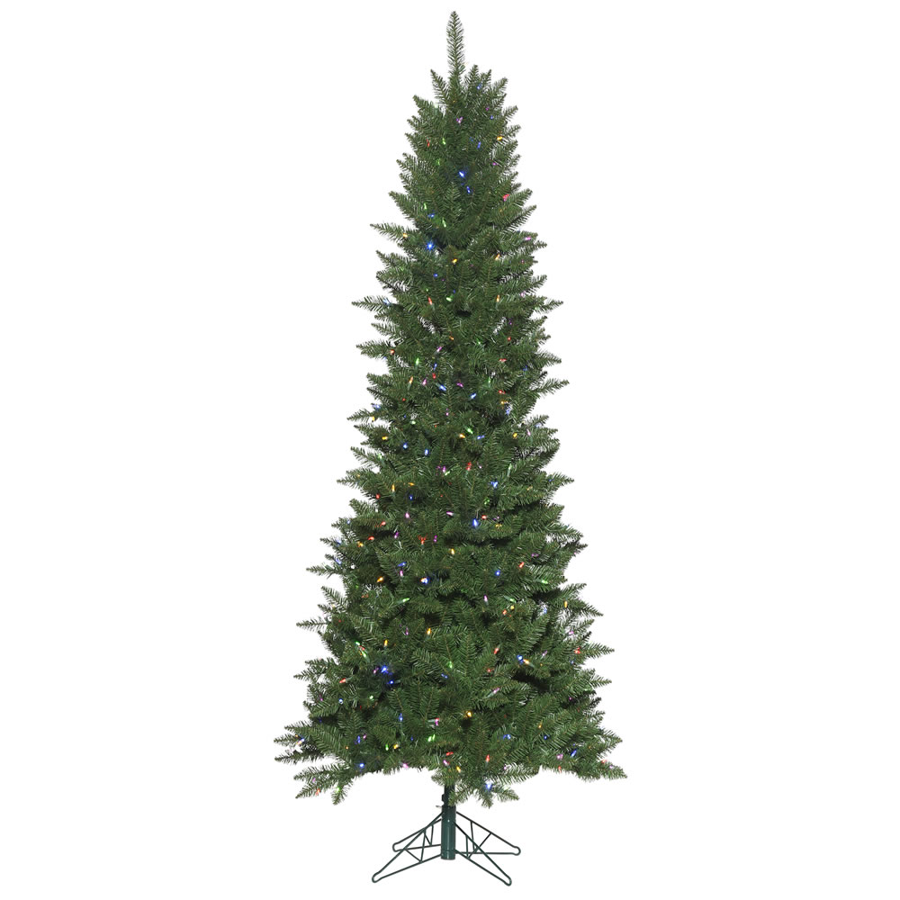 9 Foot Chaska Pencil Pine Artificial Christmas Tree 700 Dura-Lit LED Warm White Multi-Colored Music Controlled Changing Mini Lights