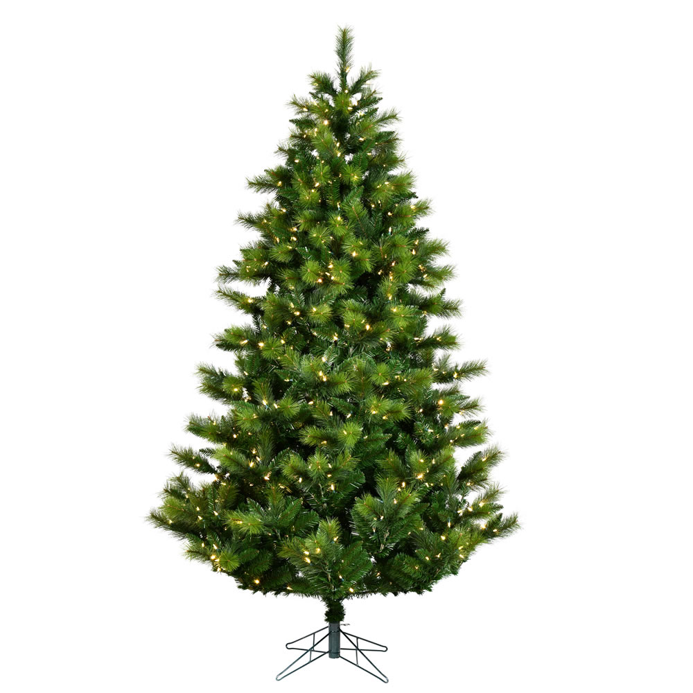 4.5 Foot Elkin Mixed Pine Artificial Christmas Tree 200 DuraLit LED Warm White Multi Color 8 Function Changing Mini Lights
