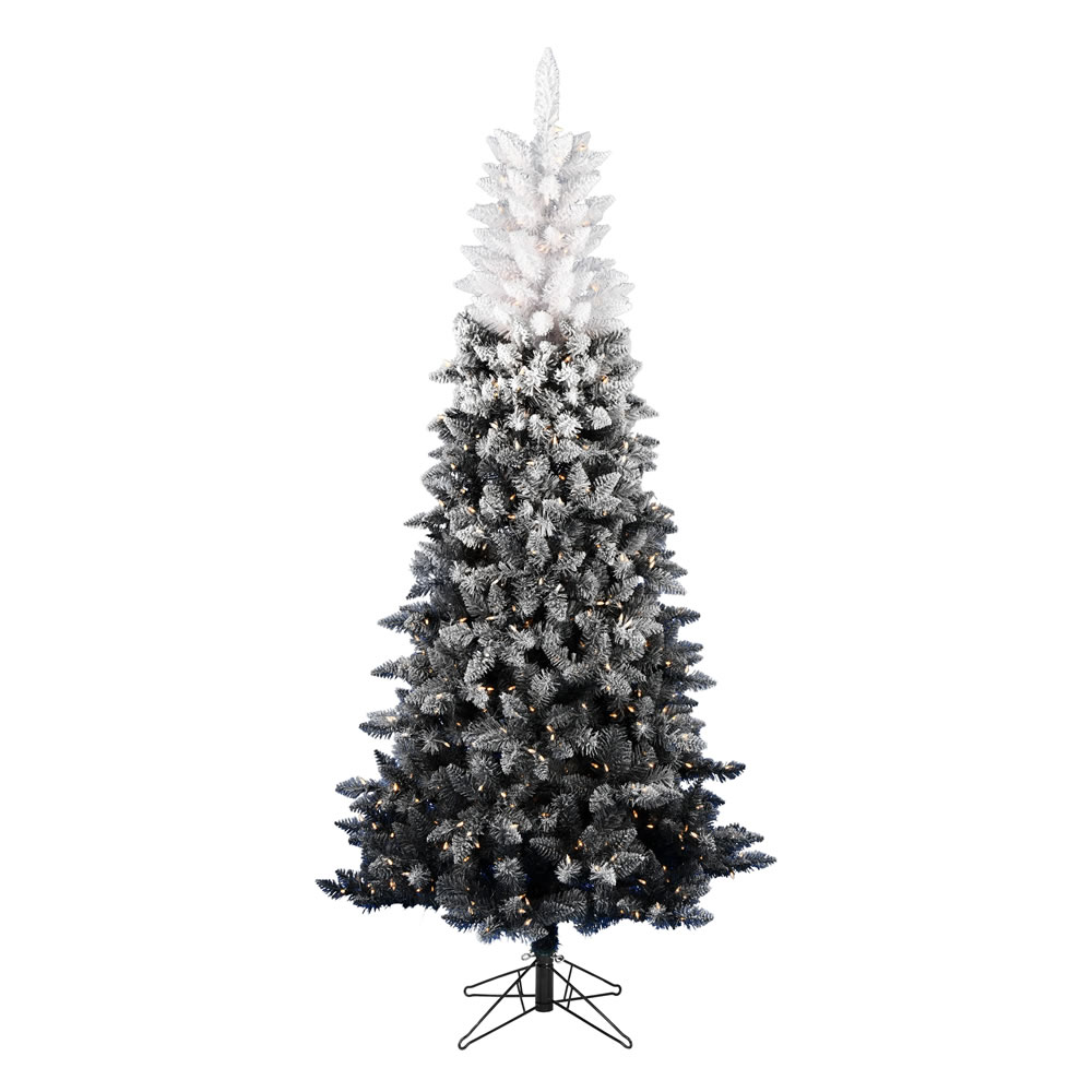 6.5 Foot Frosted Black-White Artificial Christmas Tree - 550 DuraLit LED Warm White Mini Lights