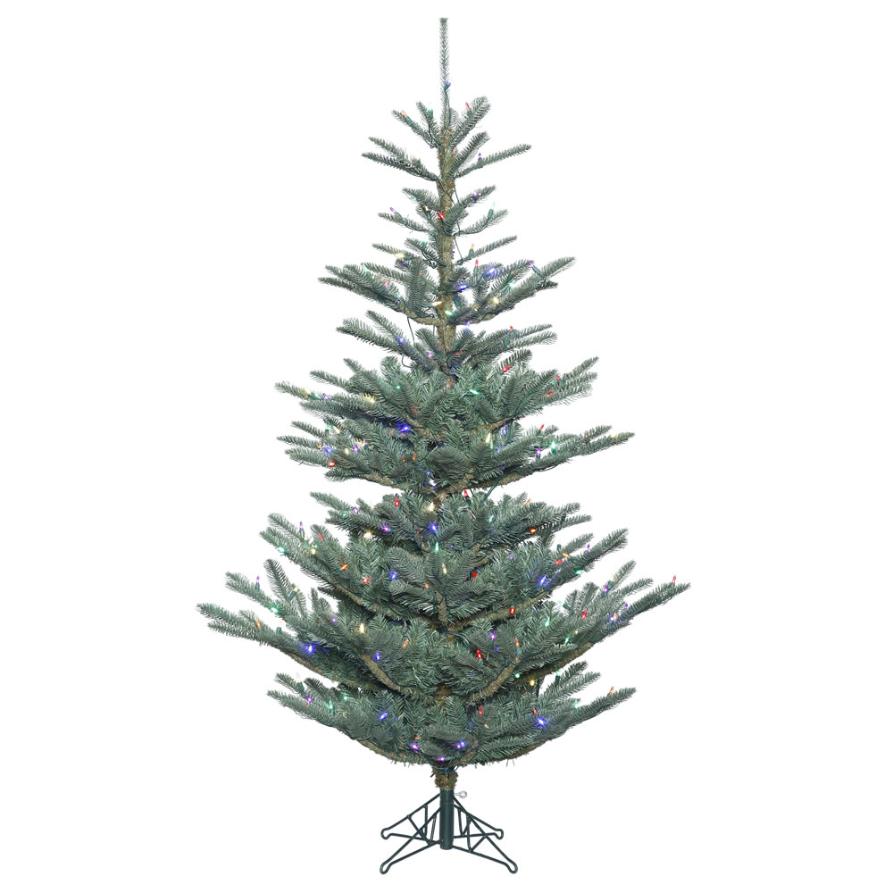 10 Foot Alberta Blue Spruce Artificial Christmas Tree 800 Duralit LED Multi 6 Color Italian Mini Lights
