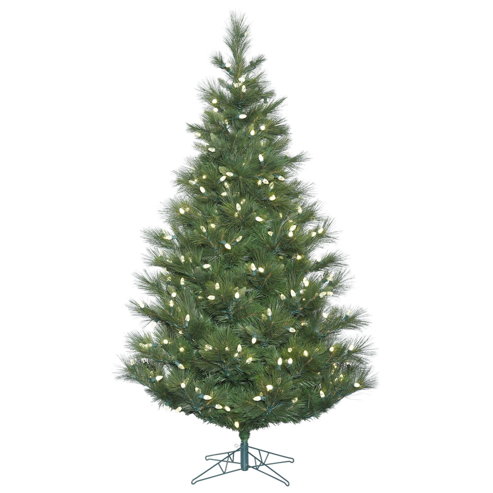 4.5 Foot Norway Pine Artificial Christmas Tree 150 LED C7 Warm White Lights