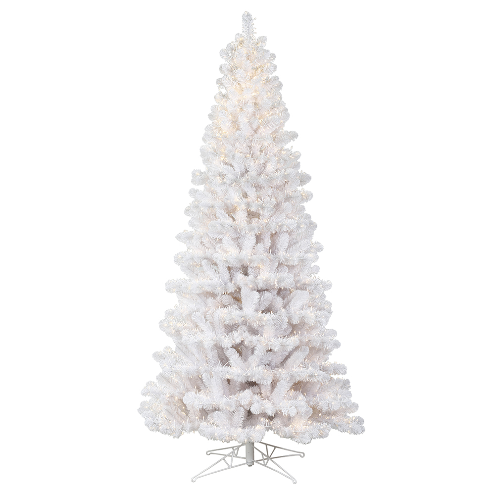 12 Foot White Slim Artificial Christmas Tree 11000 Low Voltage 3MM LED Warm White Lights