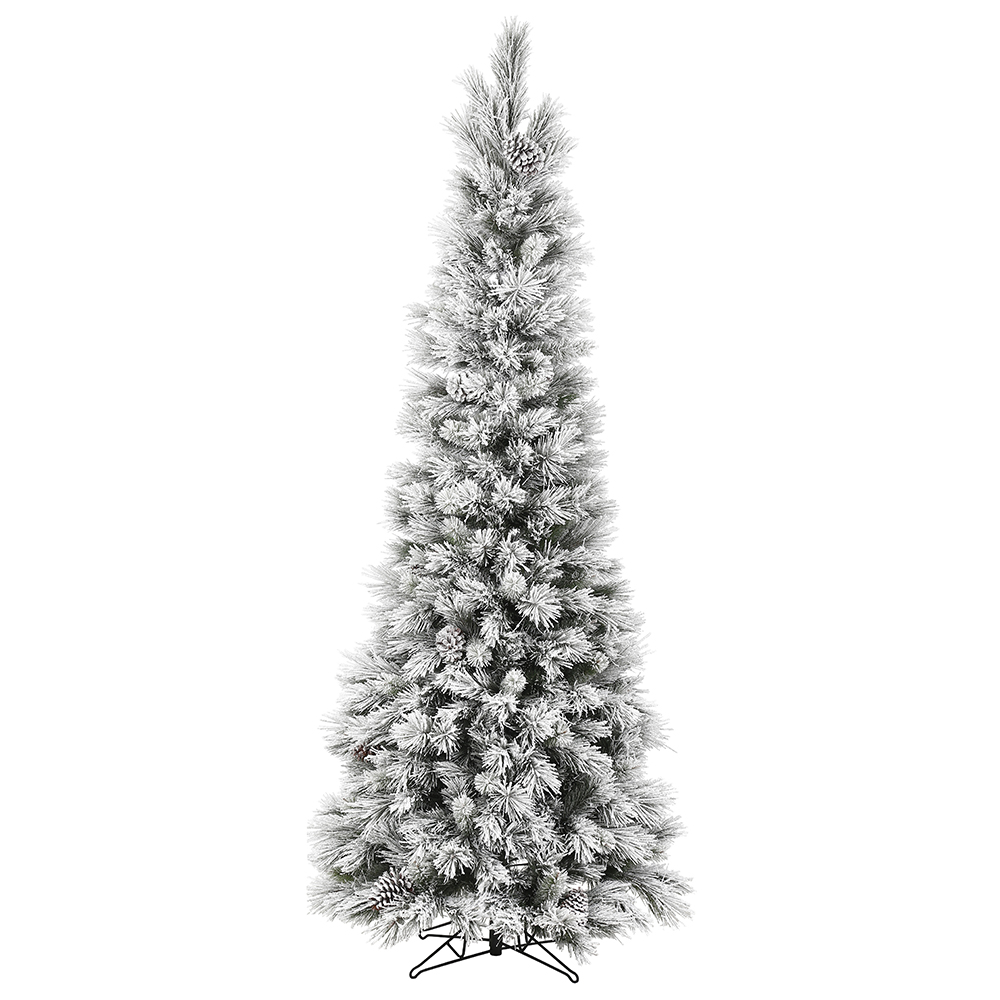 7 Foot Flocked Ames Pine Pencil Artificial Christmas Tree Unlit