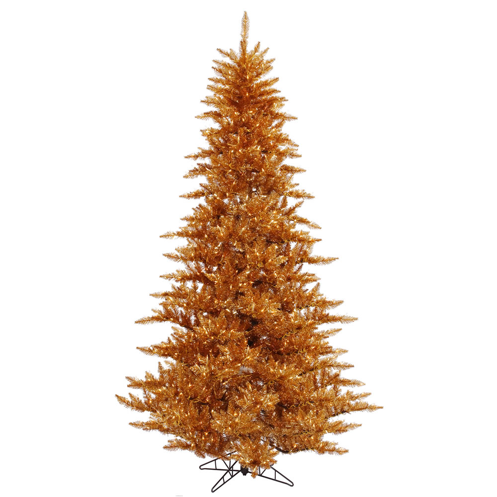 14 Foot Copper Fir Artificial Christmas Tree 2250 DuraLit LED M5 Italian Warm White Mini Lights
