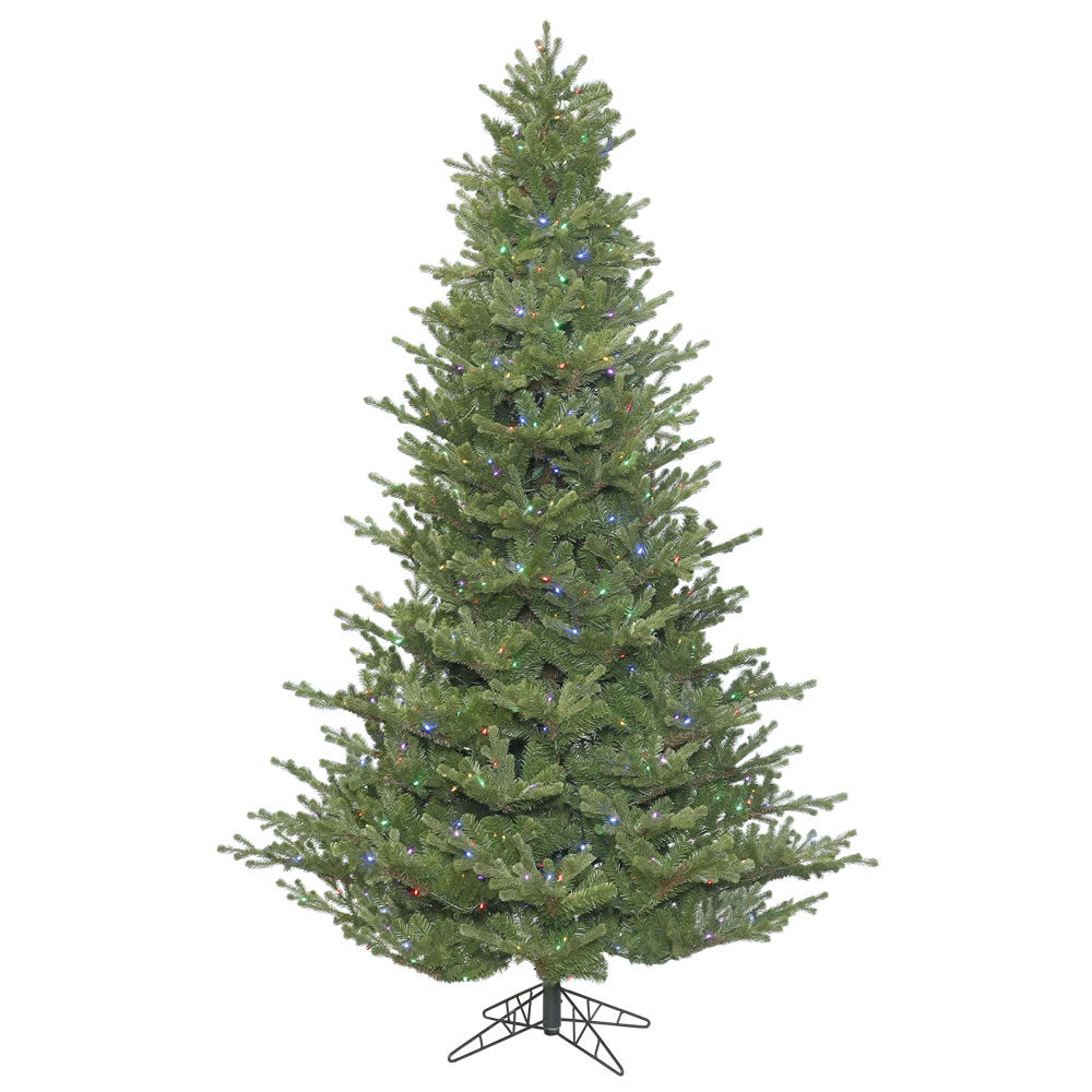 7.5 Foot x 62 Inch Lexington Spruce Tree 3402 PVC PE Molded Tips, DuraLit 700 LED Multi Italian Style UL Lights, Step On Off Switch
