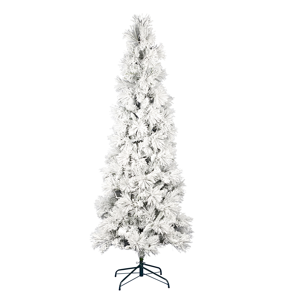 7.5 Foot Flocked Atka Pine Pencil Artificial Christmas Tree Unlit