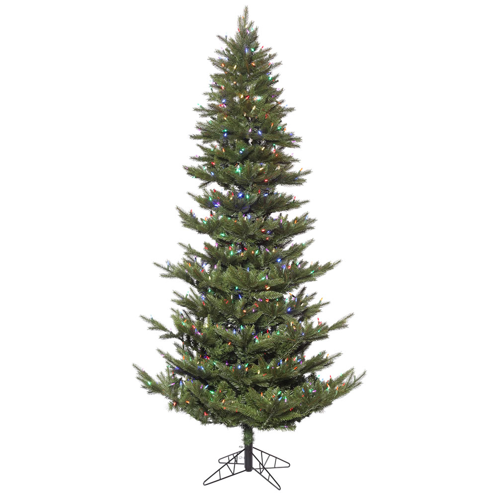 6.5 Foot Carlsbad Fir Artificial Christmas Tree 500 DuraLit LED M5 Italian Multi Color Mini Lights
