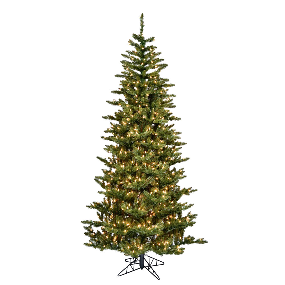 4.5 Foot Natural Fraser Slim Artificial Christmas Tree 250 DuraLit Incandescent Clear Mini Lights