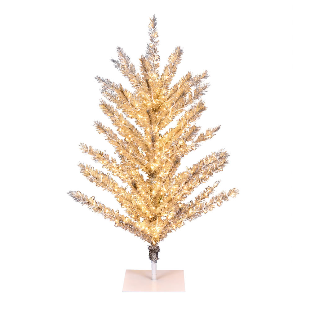 4 Foot Vintage Aluminum Artificial Christmas Tree - 500 Low Voltage LED Warm White 3MM Lights