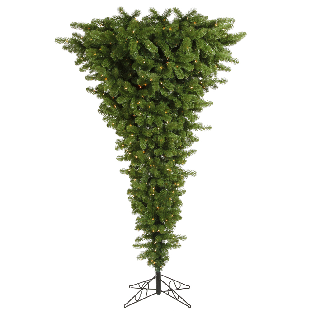 7.5 Foot American Upside Down Artificial Christmas Tree 500 DuraLit Incandescent Clear Mini Lights