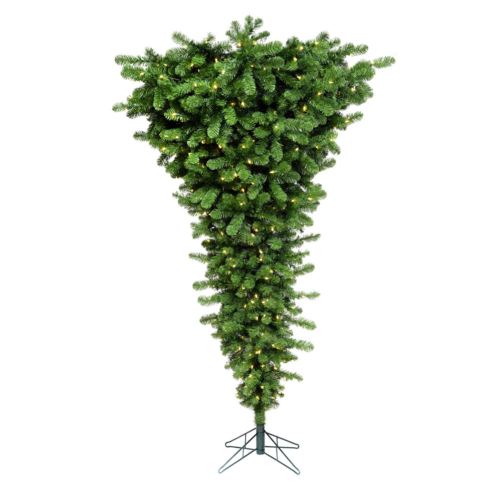 9 Foot American Upside Down Artificial Christmas Tree 1000 DuraLit LED M5 Italian Warm White Mini Lights