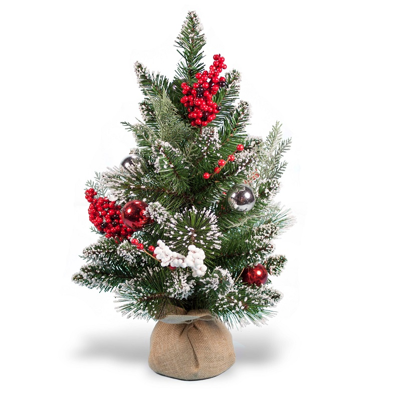 2 Foot Glitter Frosted Pine Artificial Christmas Tree with Silver Balls and Berries