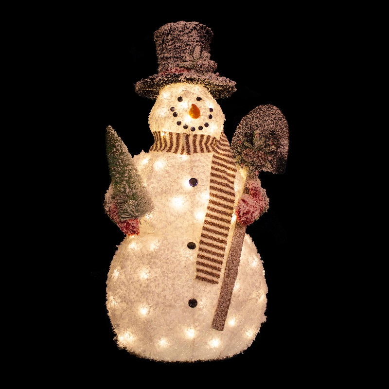 4 Foot White Frosted Snowman With Shovel Christmas Decoration- 70 LED Lights
