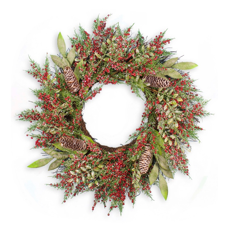 24 Inch Iced Mixed Greens Artificial Christmas Wreath with Berries and Cones
