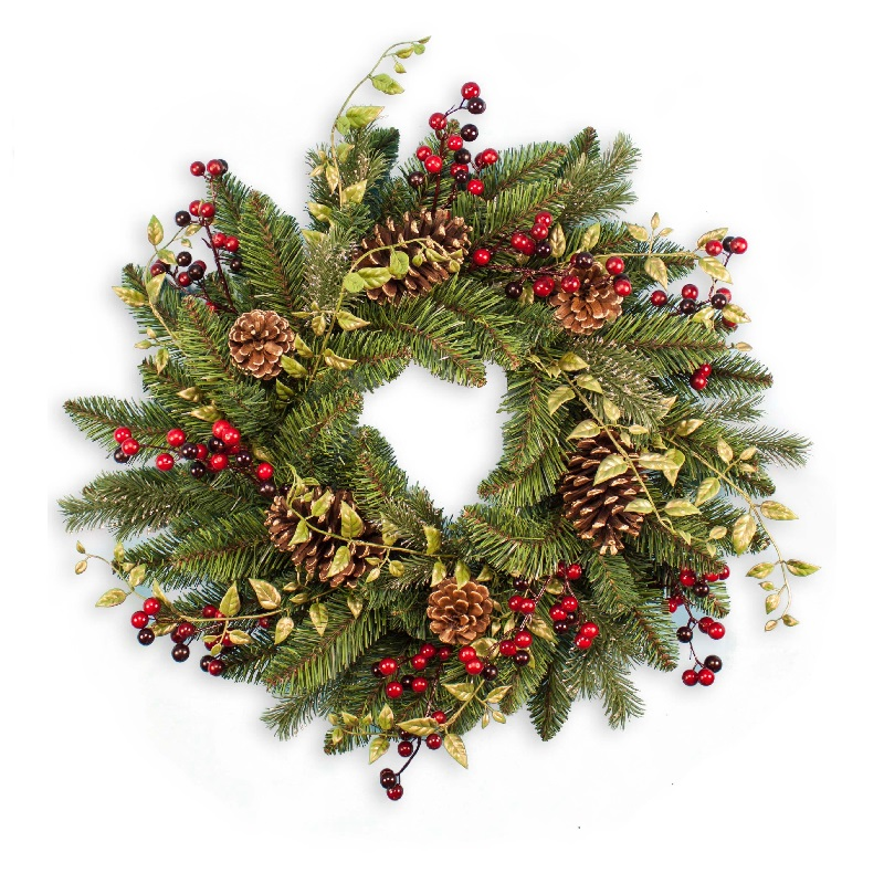 24 Inch Pine Artificial Christmas Wreath with Berries, Leaves and Gold Pinecones