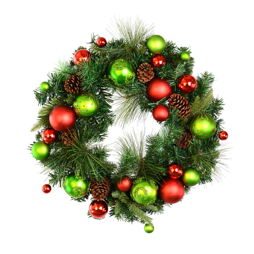 24 Inch Mixed Green Artificial Decorated Christmas Wreath
