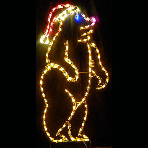 Christmas Bear with Santa Hat LED Lighted Christmas Decoration