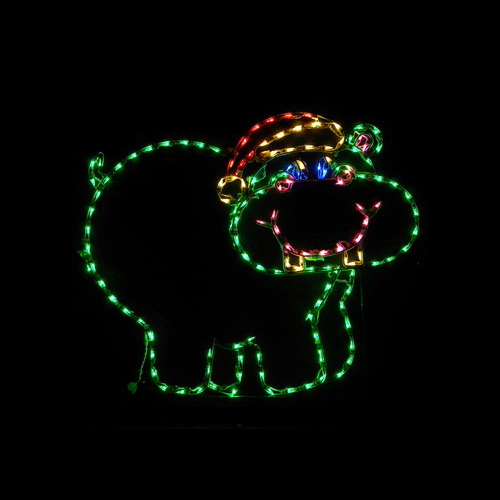 Christmas Hippopotamus LED Lighted Outdoor Christmas Decoration