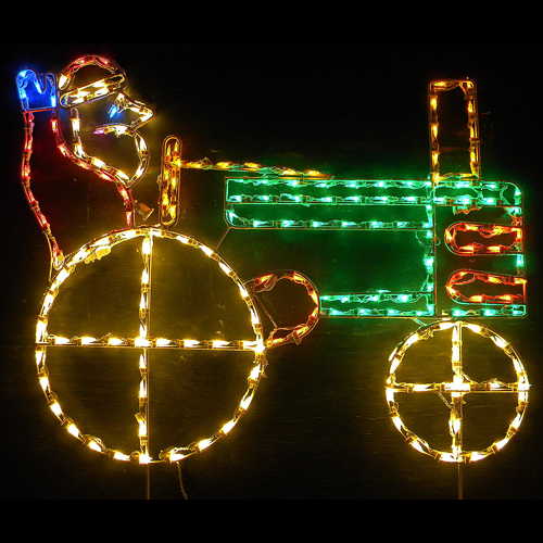 Santa Claus on Tractor LED Lighted Outdoor Christmas Decoration